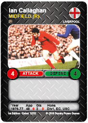 Ian Callaghan Liverpool FC Time Vault Soccer Football Card V3.1
