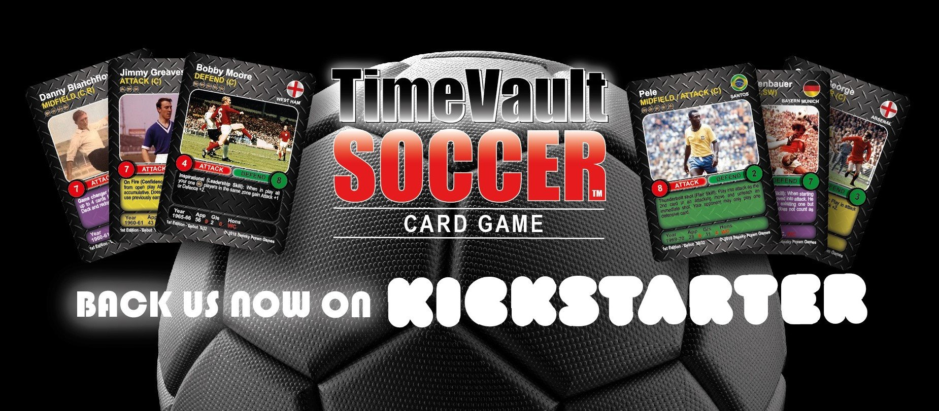 Time Vault Soccer card game Kickstarter banner